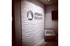 Architectural interior reception lobby signage Aterra Designs