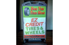 A-frame sign for Dan the Tire Man in Phoenix Arizona