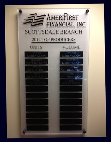 Annual Award Plaque for Amerifirst Financial in Scottsdale AZ