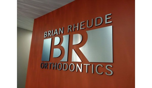 Brushed metal orthodontic office sign Rochester NY