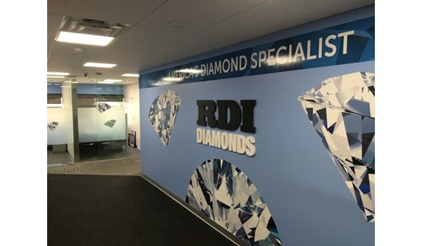 Company office interior vinyl wall mural dimensional letters Greece NY