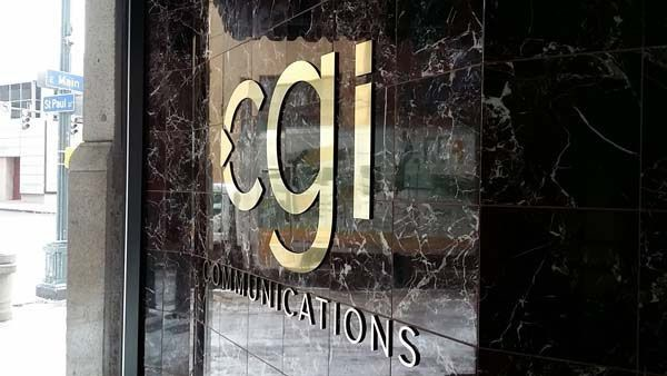 Dimensional Company Name Sign for CGI Communications Company in Rochester, NY