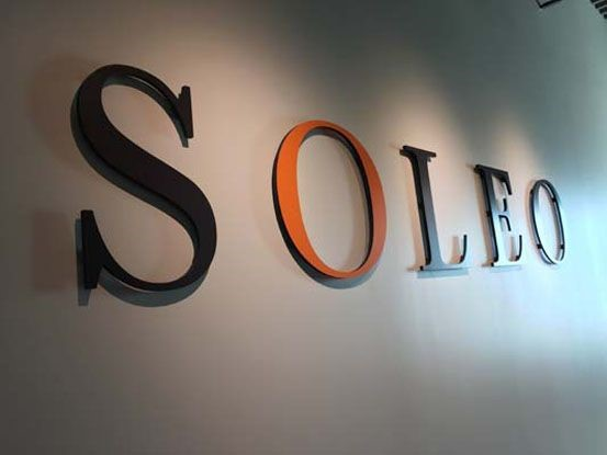 Dimensional Company Name Sign for Soleo Communications in Victor, NY