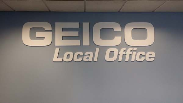 Large dimensional Company Name and Logo for GEICO insurance company in Rochester, NY