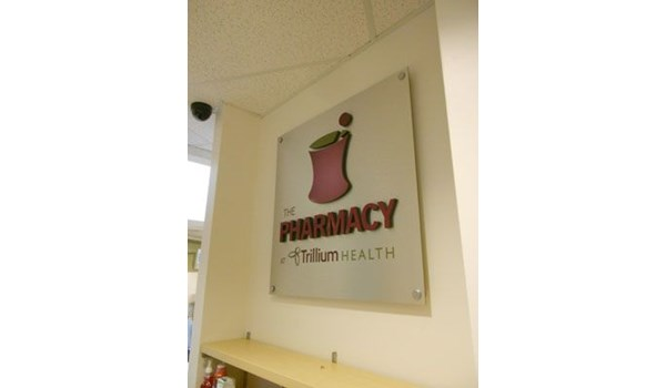Pharmacy sign dimensional logo with spacers Rochester NY