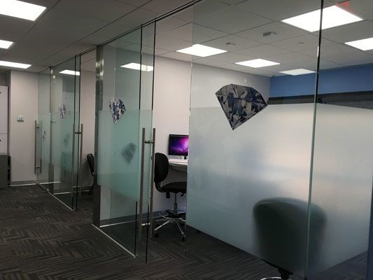 Frosted glass window office privacy custom design Rochester NY