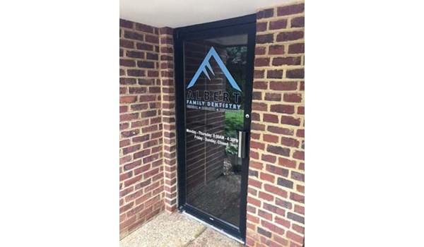 Window Decals for Albert Family Dentistry in Charlottesville, VA.