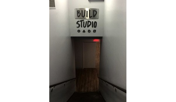 Interior dimensional logo and lettering for Build Studio in New York, NY.