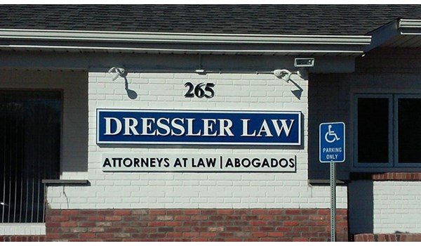 Exterior dimensional lettering sign on outside wall for Dressler Law in Waterbury, CT