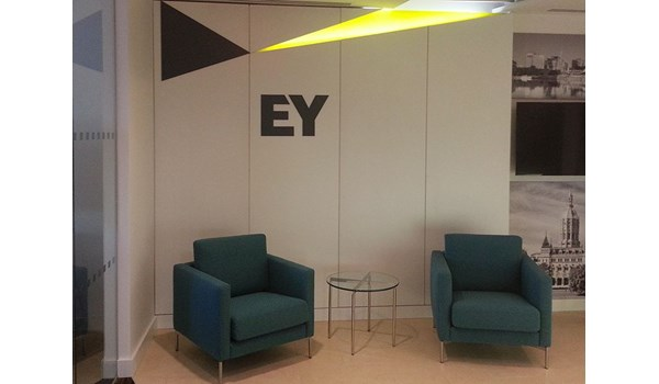 Acrylic dimensional logo and accent sign  for office lobby and waiting room for EY in Hartford, CT