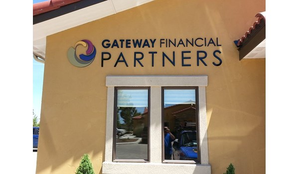 Acrylic dimensional sign lettering with vinyl for outside building wall for Gateway Financial in Glastonbury, CT