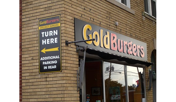Outside storefront sign dimensional lettering for Goldburgers in Newington, CT.