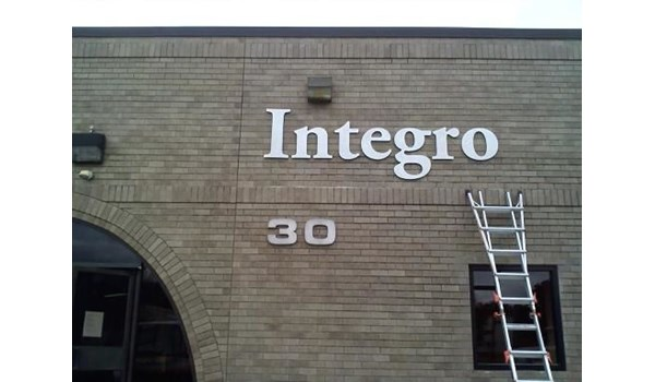Outdoor metal lettering sign for Integro in New Britain, CT