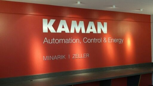Interior dimensional lettering sign for Kaman in Franklin, MA