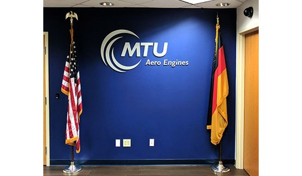 Logo and dimensional lettering for MTU in Rocky Hill, CT.