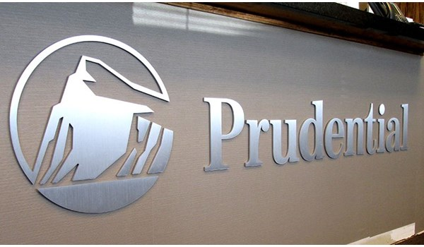 Interior dimensional metal logo sign and lettering for Prudential in South Windsor, CT.