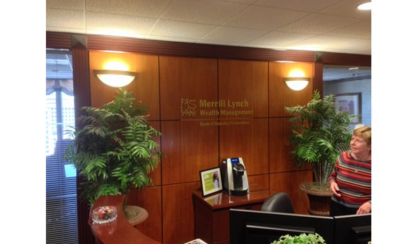 Interior lettering and logo sign for Merrill Lynch in West Hartford, CT
