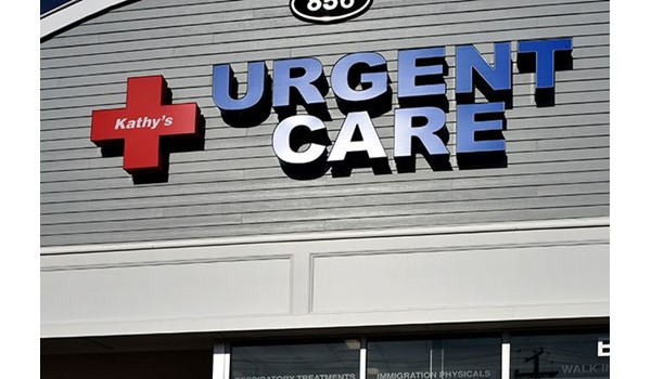 Storefront illuminated channel letters for Kathys Urgent Care in Rocky Hill, CT.