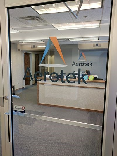 Interior office door vinyl logo for Aerotek in Hamden, CT.
