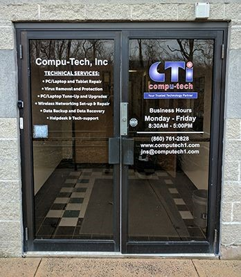 Vinyl lettering on doors for Compu-Tech, Inc. in Newington, CT.