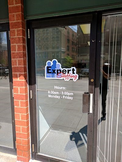 Vinyl logo on front door for Expert Staffing in West Hartford, CT.