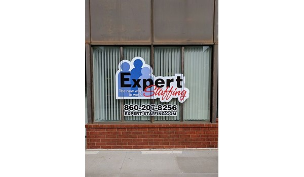 Vinyl logo graphics for Expert Staffing in West Hartford, CT.