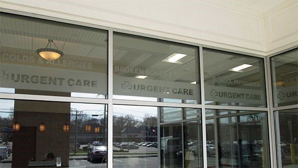Window lettering for Kathy's Urgent Care in Rocky Hill, CT.