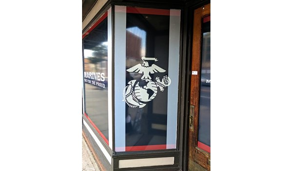 Vinyl logo and graphics for Marines recruiting center in Ansonia, CT.