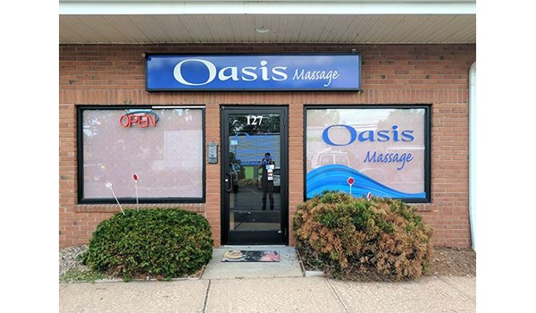 Window Graphics for Oasis Massage in Newington, CT.