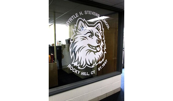Vinyl window graphics for Stevens Elementary in Rocky Hill, CT.