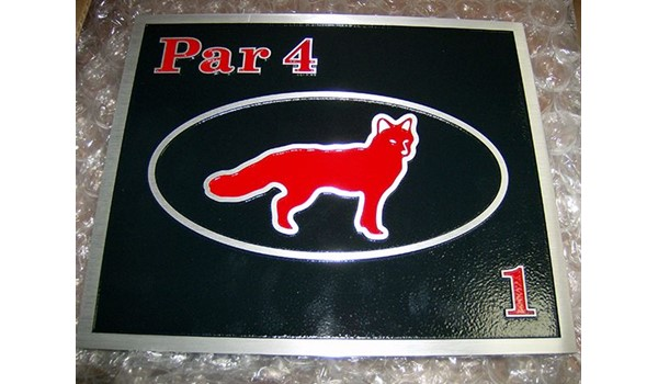 Golf par plaque for Blue Fox Run in Avon, CT.
