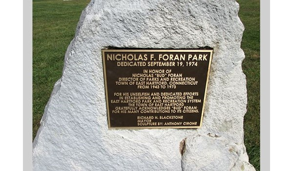 Brass plaque for Foran Park in East Hartford, CT.