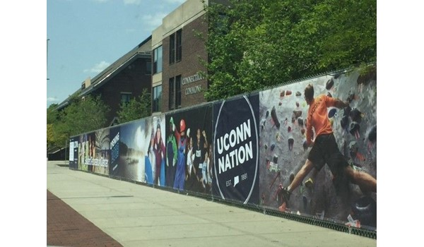 Construction fence mesh banner for UCONN in Storrs, CT