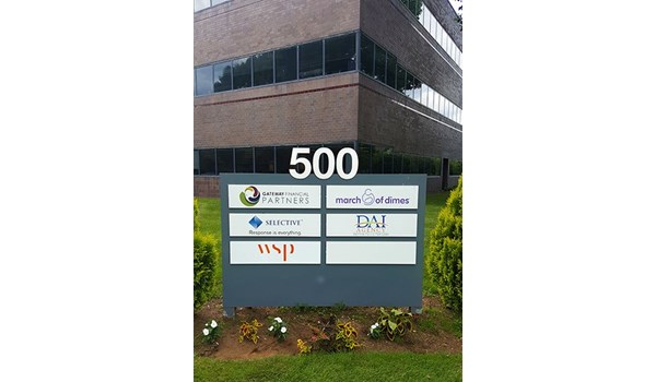 Company pylon sign for 500 Winding Brook Rd. in Glastonbury, CT.