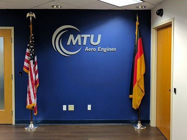 Metal lettering logo sign for MTU in Rocky Hill, CT.