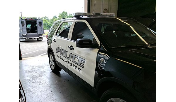 Door graphics for Manchester Police Department in Manchester, CT.