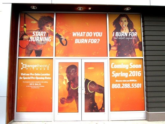 Orange Theory Fitness Window Graphic In Newington, CT