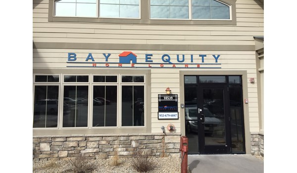 Exterior Cut Letter Building Sign for Bay Equity in Lakeville MN