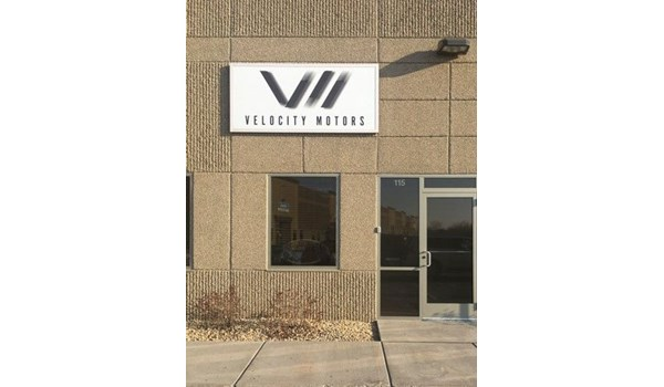 Building Sign for Velocity Motors in Apple Valley, MN, Cast Vinyl Sign