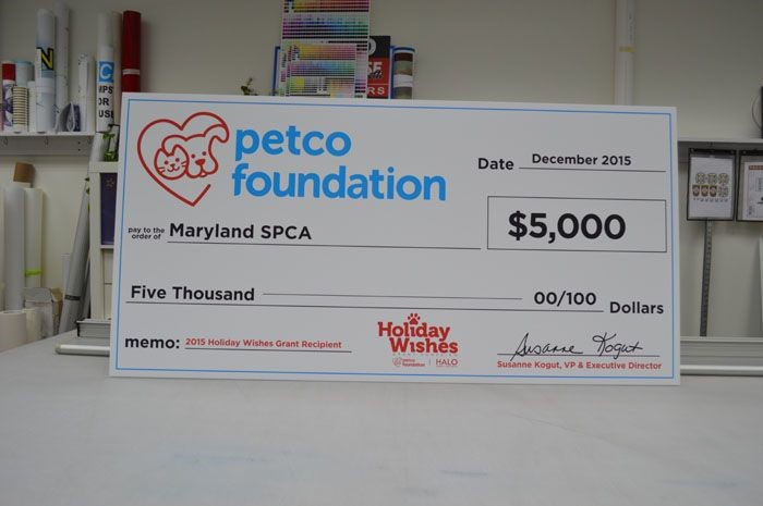 Charity Promotional Check for Petco Foundation in Maryland