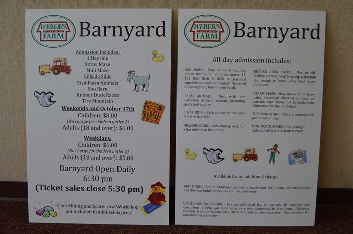 Special Event Signs for Weber's Farm in Maryland