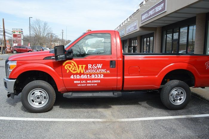 Vehicle Lettering for R&W Landscaping in Maryland