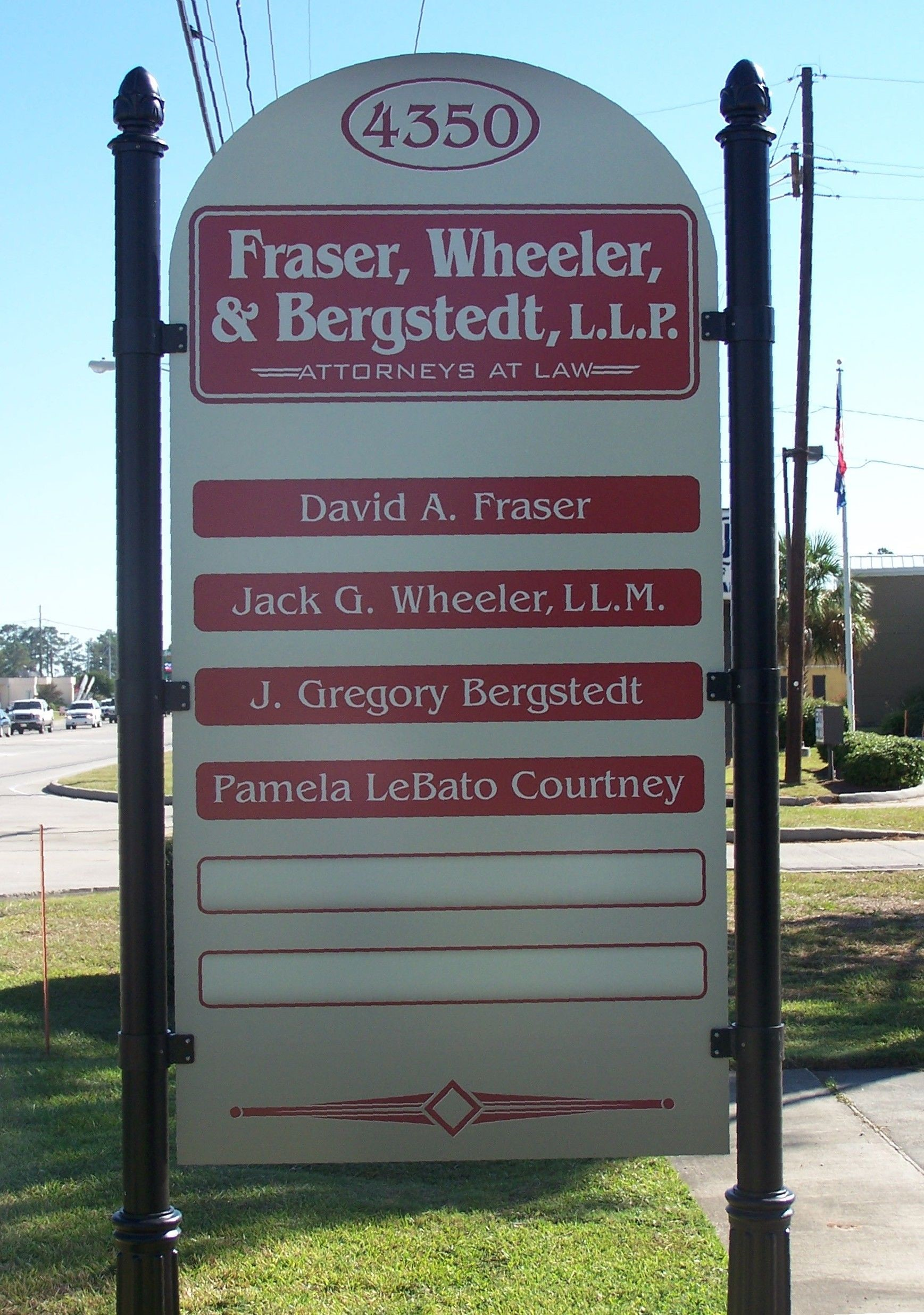 Fraser, Wheeler, & Bergstedt Post and Panel Signage in Lake Charles, LA
