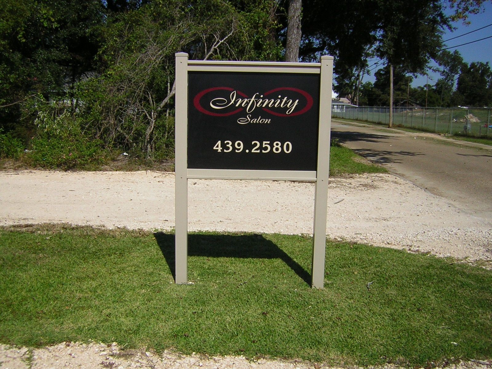 Infinity Salon Post and Panel Signage in Lake Charles, LA