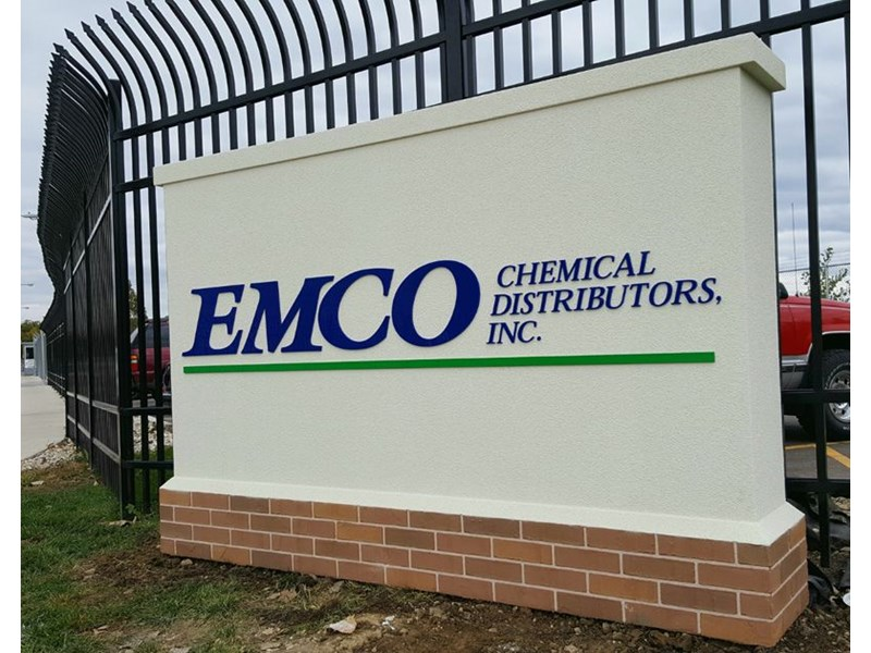 Monument Sign EMCO Chemical North Chicago brick stucco foam
