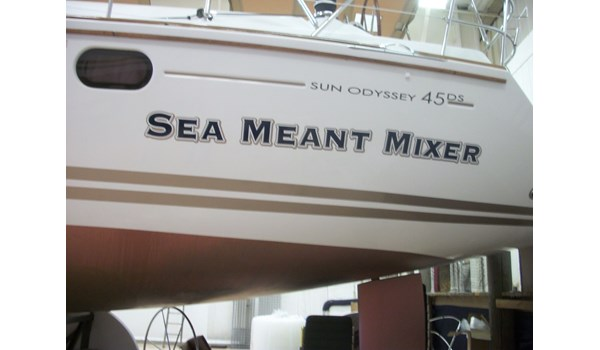 Clever boat name on side of sail boat in Waukegan IL