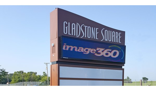 Digital Display on pylon sign with push through acrylic letters and tenant panels in Beach Park, IL