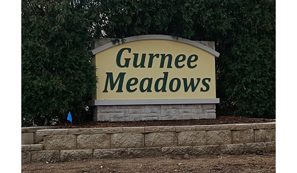 One of two monument signs for the entrances of Gurnee Meadows senior apartments.