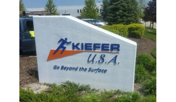 Concrete monument sign with aluminum dimensional letters for Kiefer Flooring  Lake Villa, I