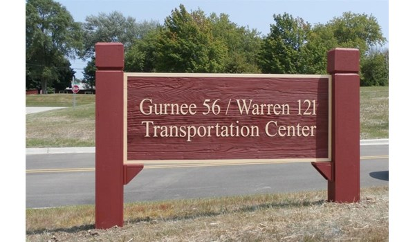 Sand blasted redwood sign for Gurnee Warren Schools, Gurnee IL